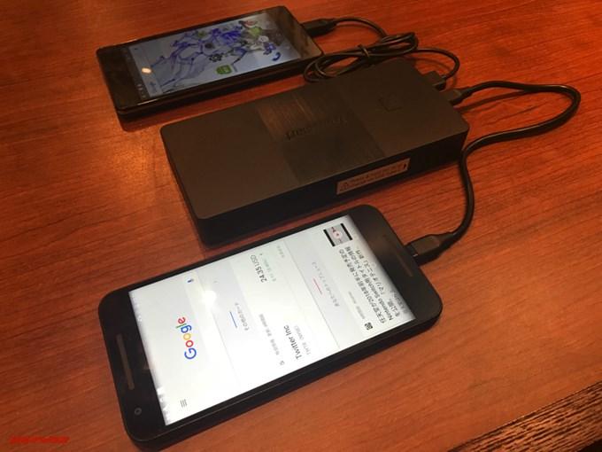 Tronsmart Brio 20100mAhを実際に使って複数のデバイスを充電してみました。しっかり充電されています。