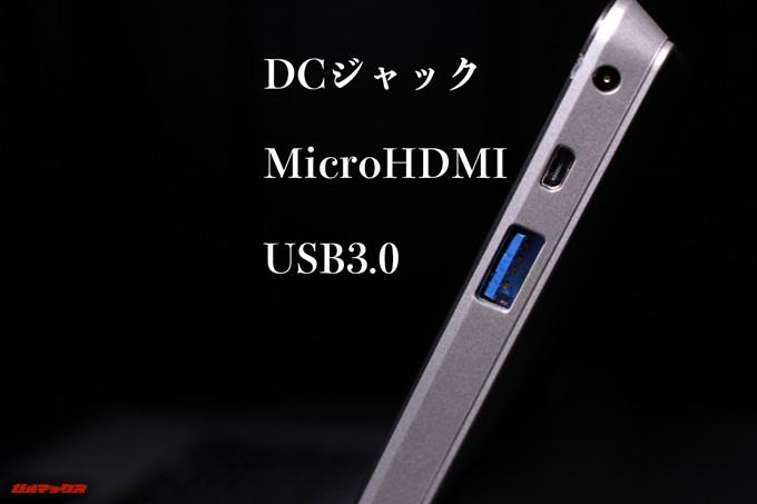 Jumper EZpad 6 Plusのディスプレイ右側にはMicroHDMIやUSB 3.0、充電用の端子が備わっています