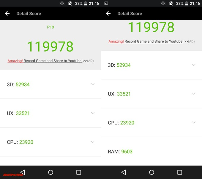 AQUOS P1(Android 6.0.1)実機AnTuTuベンチマークスコアは総合が119978点、3D性能が52934点。