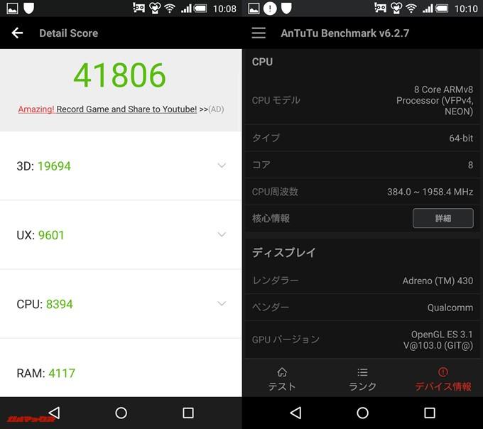 AQUOS Xx-Y 404SH(Android 5.0.2)実機AnTuTuベンチマークスコアは総合が41806点、3D性能が19694点。