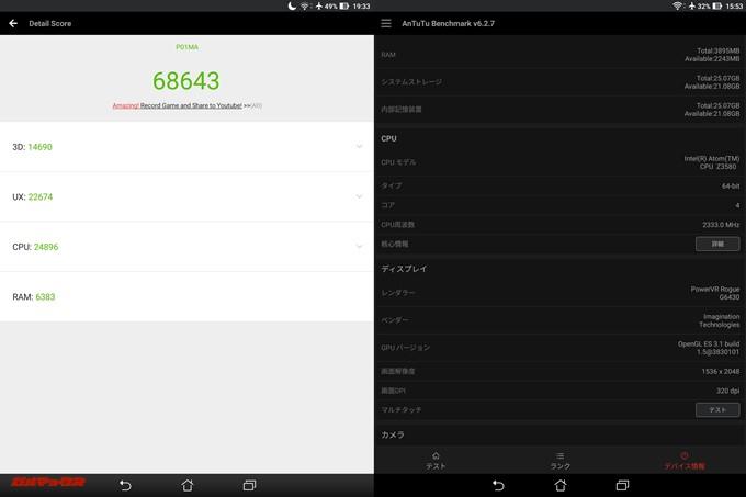 ASUS ZenPad S 8.0(Android 6.0.1)実機AnTuTuベンチマークスコアは総合が68643点、3D性能が14690点。