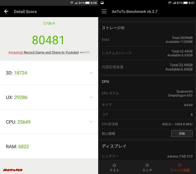 Coolpad Cool 1 dual(Android 6.0)実機AnTuTuベンチマークスコアは総合が80481点、3D性能が18724点。