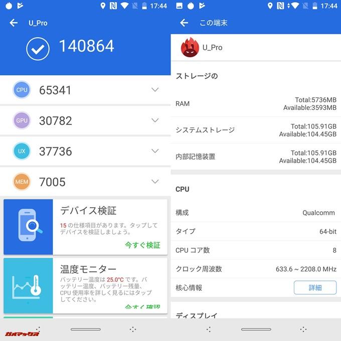 Elephone U Pro(Android 8.0.0)実機AnTuTuベンチマークスコアは総合が140864点、3D性能が30782点。