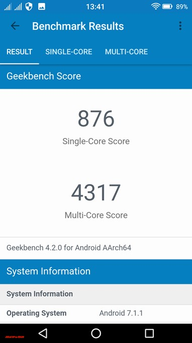 FREETEL REI 2 DualのGeekbench 4スコアはシングルコア性能は876、マルチコア性能は4317でした