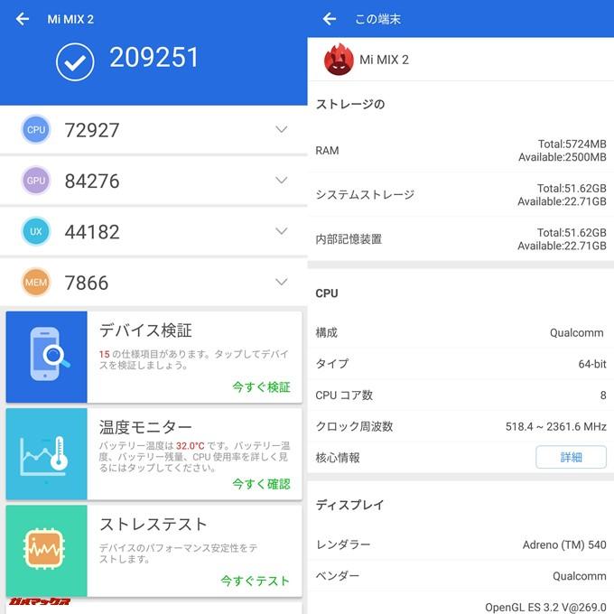 Xiaomi Mi Mix 2(Android 8.0/MIUI 9 Global 8.2.8 beta)実機AnTuTuベンチマークスコアは総合が209251点、3D性能が84276点。