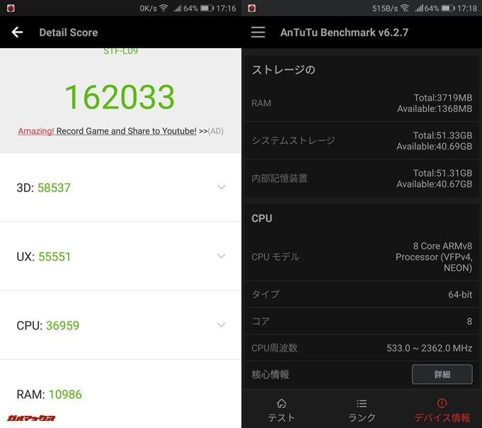 Huawei honor 9(Android 8.0)実機AnTuTuベンチマークスコアは総合が162033点、3D性能が58537点。