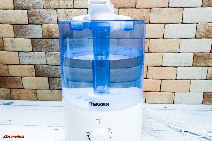 TENKERの加湿器は水タンクが透けているので残水量が一発で分かる