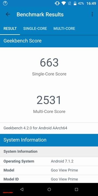 gooスマホ「g08」のGeekbench 4はシングルコア性能は663点、マルチコア性能は2531点