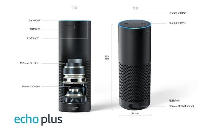 Amazon Echo Plusは2.5インチのウーファーと0.8インチのツイーターを搭載!