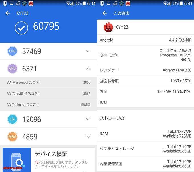 KYOCERA URBANO L03 KYY23(Android 4.4.2)実機AnTuTuベンチマークスコアは総合が60795点、3D性能が6371点。