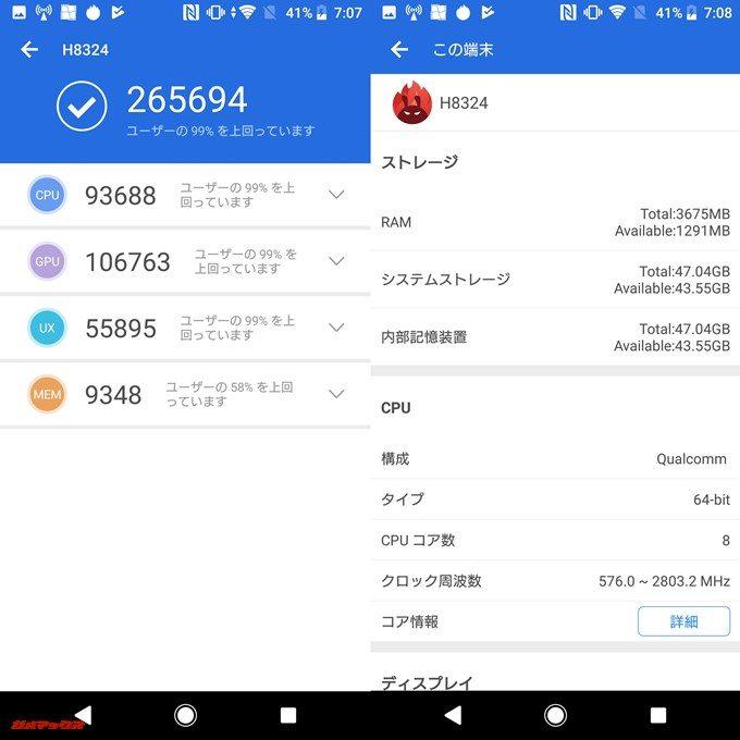SONY Xperia XZ2 Compact(Android 8.0)実機AnTuTuベンチマークスコアは総合が265694点、3D性能が106763点。