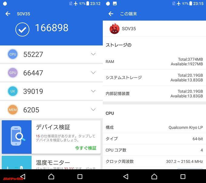 SONY Xperia XZs SOV35(Android 7.1.1)実機AnTuTuベンチマークスコアは総合が166898点、3D性能が66447点。
