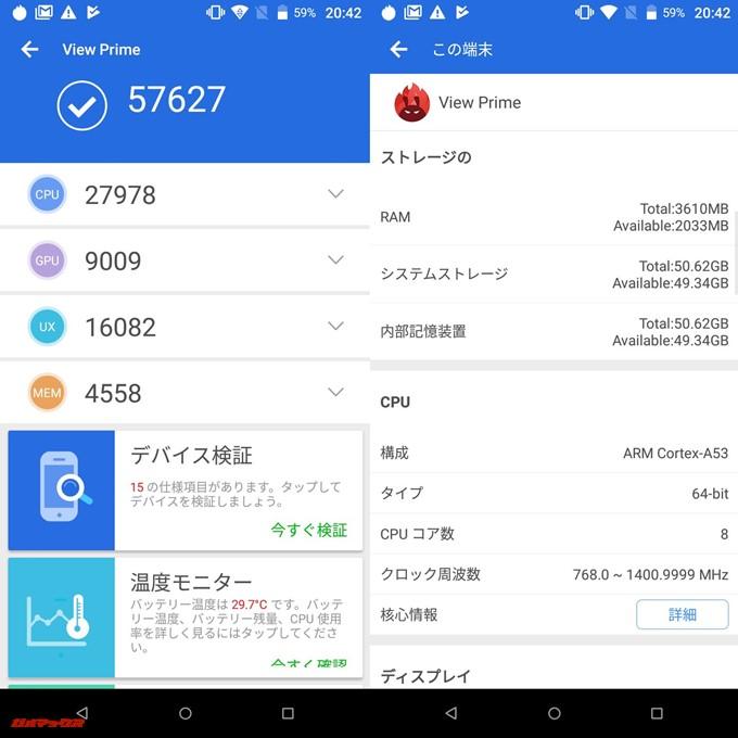 g08(Android 7.1.1)実機AnTuTuベンチマークスコアは総合が57627点、3D性能が9009点。