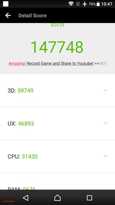 SONY Xperia XZs SOV35(Android 7.1.1)実機AnTuTuベンチマークスコアは総合が147748点、3D性能が59749点。