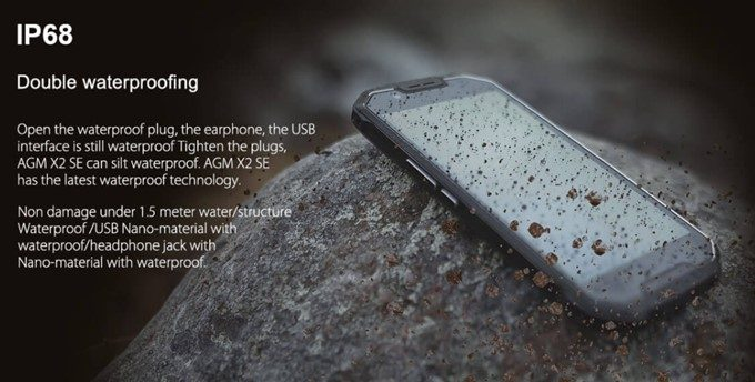 AGM X2 SEはIP68の屈強な防水防塵仕様です