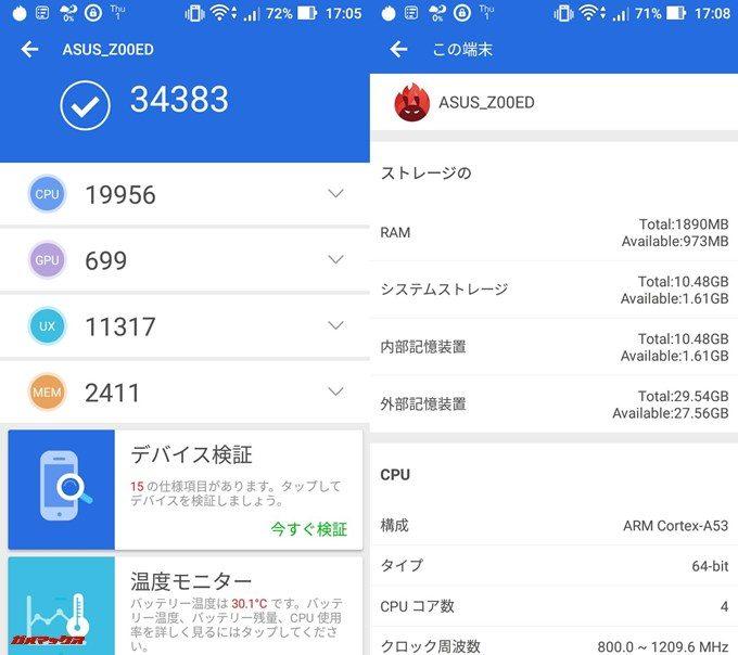 ASUS ZenFone 2 Laser ZE500KL(Android 6.0.1)実機AnTuTuベンチマークスコアは総合が34383点、3D性能が699点。