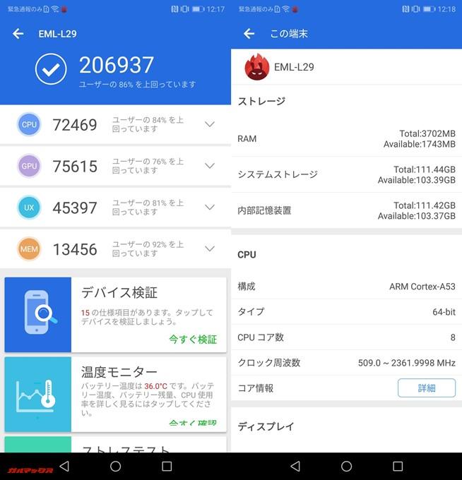 HUAWEI P20(Android 8)実機AnTuTuベンチマークスコアは総合が206937点、3D性能が75615点。