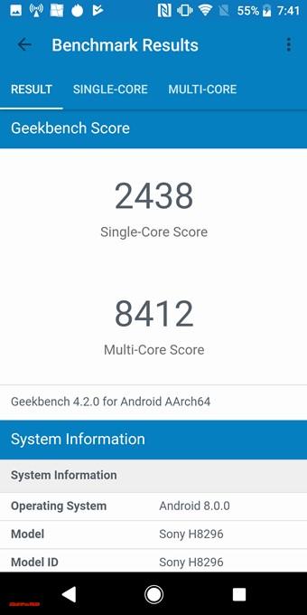 Xperia XZ2のスコアはシングルコア性能が2483、マルチコア性能が8412でした!