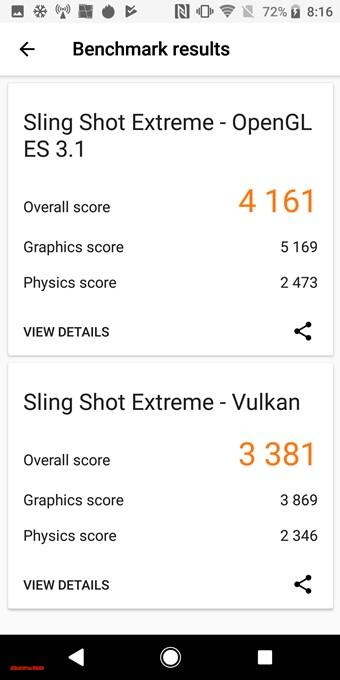 Xperia XZ2はSling Shot Extreme -OpenGL ES3.1が4161、Sling Shot Extreme - Vulkenが3381でした!