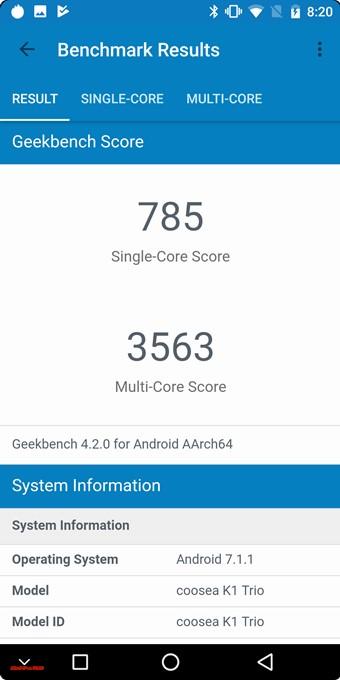 KOOLNEE K1 TrioのGeekbench 4はシングルコア性能が785点、マルチコア性能が3563点でした。