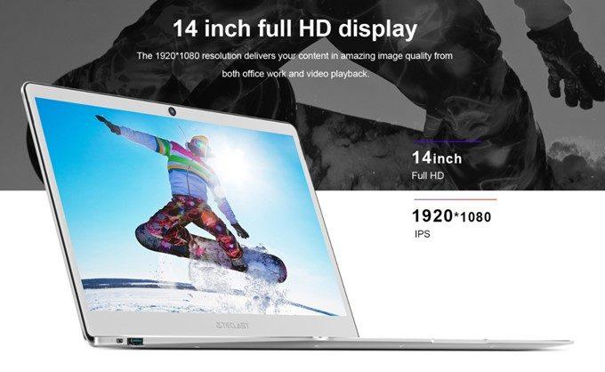 Teclast F7は大画面の14型を搭載!解像度はFHDで視野角の広いIPSを採用しています!