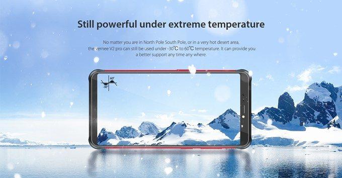 Vernee V2 Proは-30℃~60℃まで動作します。