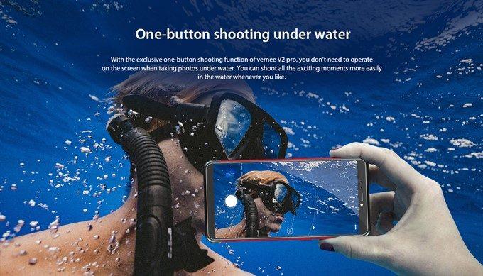 Vernee V2 Proは防水性能が高いので水中での撮影にも対応!