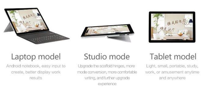 VOYO i8 Maxはノートパソコンスタイル・タブレットスタイル・スタジオスタイルで利用可能です。