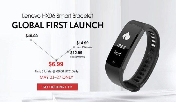 Lenovo HX06 Smart Braceletは2018年5月28日まで発売記念キャンペーン中で6.99ドルで購入可能です。