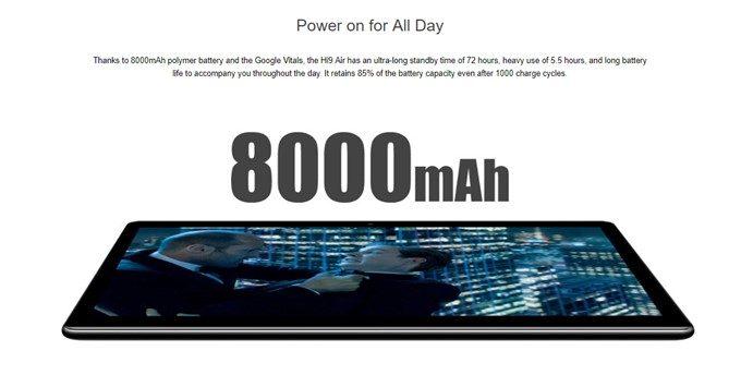 CHUWI Hi 9 Airは8000mAhの大容量バッテリーを搭載
