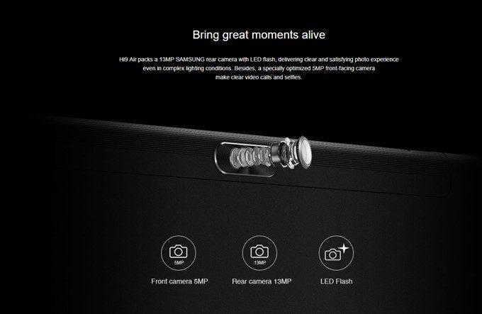 CHUWI Hi 9 Airは1300万画素のSamsungカメラを搭載しています。