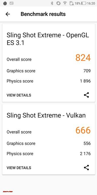3DMarkのスコアはOpenGL ES 3.1が824点、Vulkanが666点でした。