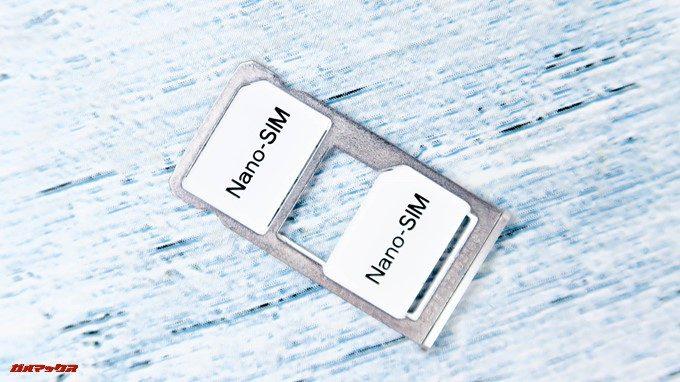 UMIDIGI A1 ProはNanoSIMが2枚挿入できるSIMトレイを備えてます。