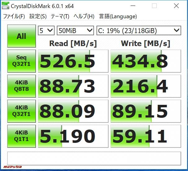 Teclast F7のSSDは書き込みが526MB/sで非常に速いです。