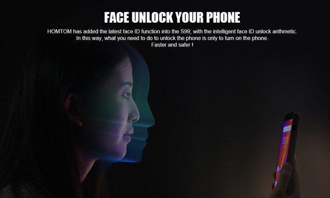 HOMTOM S99は顔認証が利用できるので簡単にロック解除可能です。