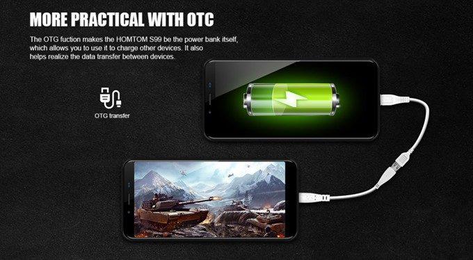 HOMTOM S99をモバイルバッテリー代わりに利用できる機能が備わっています。Bluetootイヤホンなどの充電に最適!