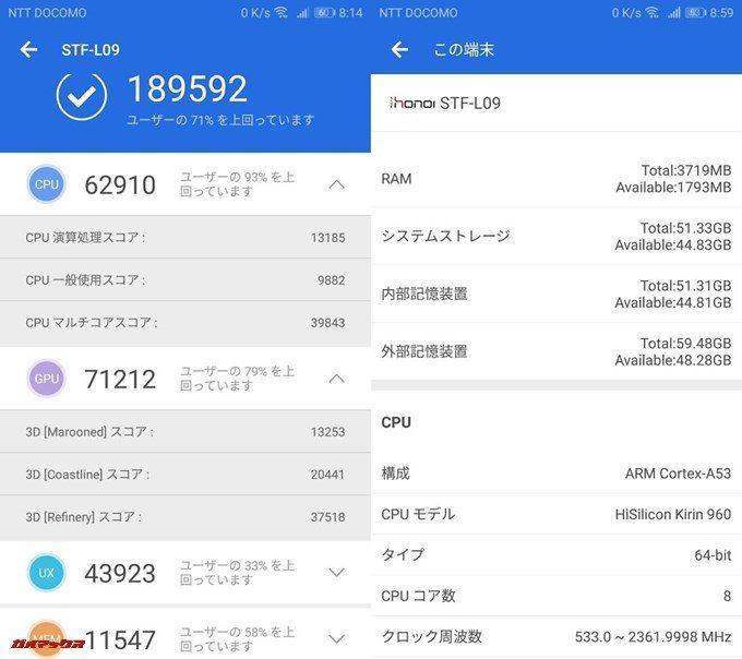 HUAWEI honor 9(Android 8.0.0)実機AnTuTuベンチマークスコアは総合が189592点、3D性能が71212点。