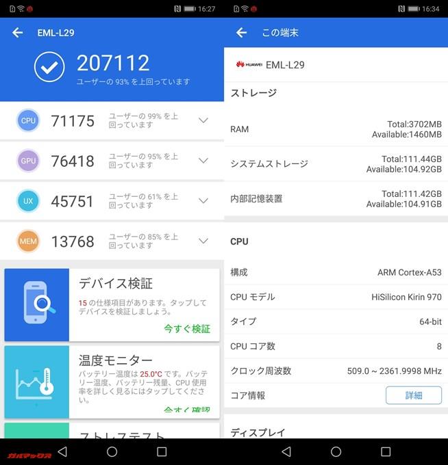 Huawei P20(Android 8.1)実機AnTuTuベンチマークスコアは総合が207112点、3D性能が76418点。