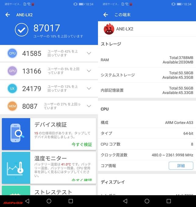 Huawei P20 lite(Android8.0)実機AnTuTuベンチマークスコアは総合が87017点、3D性能が13166点。