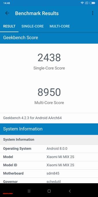 Geekbench4はXiaomi Mi Mix 2Sのシングルコア性能は2438点!マルチコア性能は8950点!