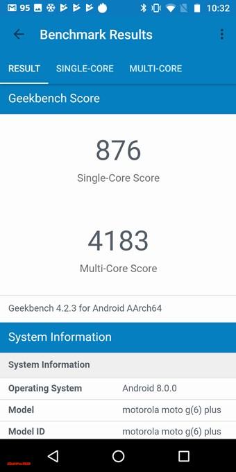 moto g6 PLUSのGeekbench 4スコアは以下!シングルコア性能は876点!マルチコア性能は4183点!