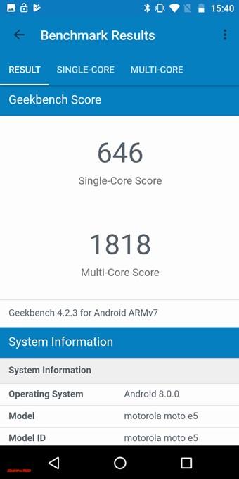 moto e5のGeekbench 4スコアはシングルコア性能が646点!マルチコア性能は1818点!