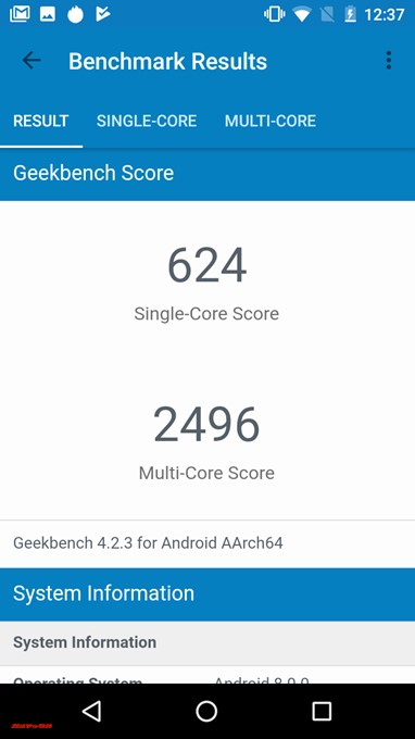 Geekbench 4のFLEAZ BEATのシングルコア性能は624点!マルチコア性能は2496点!