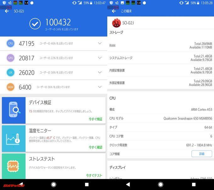 XperiaXcompact SO-02J(Android 8.0)実機AnTuTuベンチマークスコアは総合が100432点、3D性能が20817点。