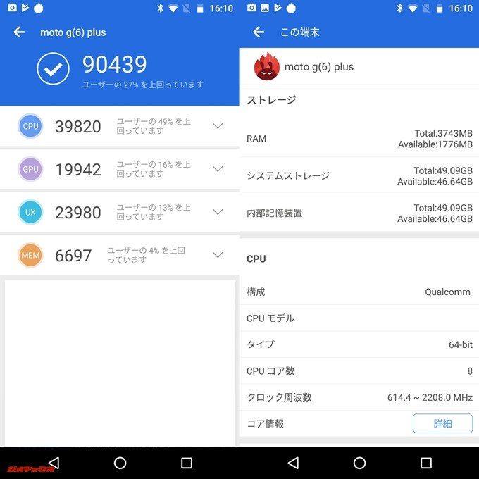 moto g6 PLUS(Android 8.0)実機AnTuTuベンチマークスコアは総合が90439点、3D性能が19942点。