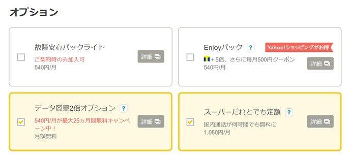 オプションでスーパーだれとでも定額が1080円で加入可能です。