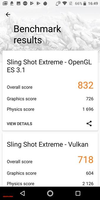 3DMarkのAQUOS sense plusはOpenGL ES 3.1が832点、Vulkanが718点でした!