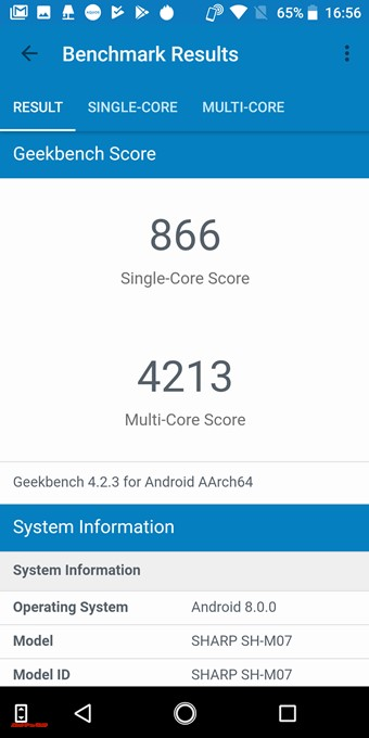 AQUOS sense plusのGeekbench 4スコアはシングルコア性能は866点!マルチコア性能は4213点!