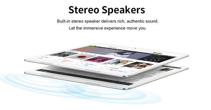 Teclast A10Hはステレオスピーカーを搭載しているので臨場感のある音で楽しめます。