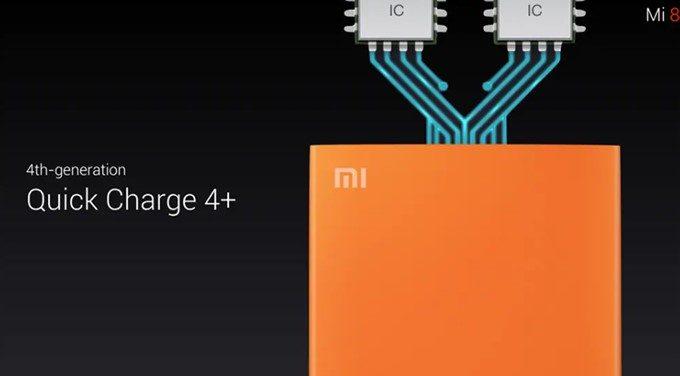 Xiaomi Mi 8はQuickCharge 4+に対応しています。